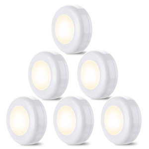 New touch sensor LED Closet Lights 6 Pack Wireless LED Puck Lights Under Cabinet Lighting Dimmable Battery Powered Night Lights