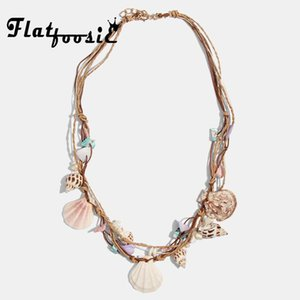 Flatfoosie New Fashion Shell Statement Necklace For Women Trendy Design Real Conch Collar Pearl Choker Necklace Party Jewelry