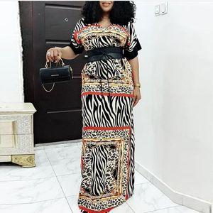 African Dresses For Women 2020 New Vintage Leopard Summer Short Sleeve Loose Maxi Dress Dashiki Africa Clothing Long Dresses