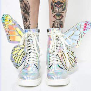 Butterfly Wings Frauen Ankle Boots arbeiten flachen Reitstiefel Damen Gummi Botas Mujer hohe Spitzen Plateaustiefel