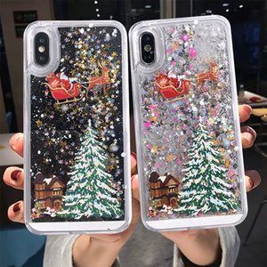 Merry Christmas Phone Case Shell per iPhone 12 iPhone 11 Case SE 11Pro Max X XR XS Max 7 8 6 Dynamic QuickSand Glitter Cover posteriore DHL GRATIS
