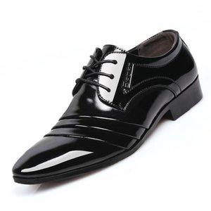 2019 Deri Erkek Elbise Ayakkabı erkek İş Ayakkabıları İtalyan Tarzı Moda Erkekler Düğün Erkek Ayakkabı Boysları Prom1