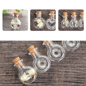 10Pcs Mini Empty Glass Wishing Message Bottle with Cork Stoppers Clear Drifting Jar for Wedding Party DIY Necklace Craft