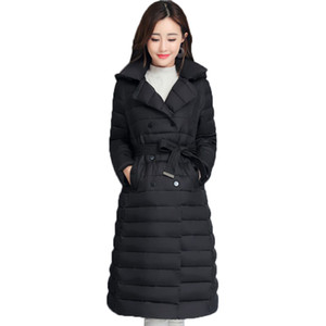 Turn Down Collar Winter Jacket Women Padded Breasted Buttons Thick Ladies Casual Long Parka Outwear Women's Solid Warm Coat 201014