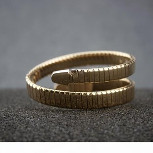 Woman Enamel Multi-Layer Open Bangle Elasticity Titanium Steel Snake Head Bangles Women Charms Fine Jewelry