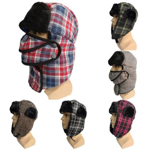 마스크 남성 여성 겨울 따뜻한 모피 눈 모자 격자 무늬 Earflap 눈 스키 사이클링 캡 폭격기 모자 LSK2002와 Ushanka 모자 겨울 사냥꾼 모자