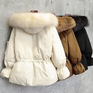 Winter Jacket Women White Duck Down Jacket 2020 Female Coat Women Loose Thick Parka Large Real Natural Raccoon Fur Hood Coat