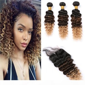 Three Tone Deep Wave Hair Bundles with Closure #1B 4 27 Honey Blonde Deep Wavy Peruvian Human Hair Weaves with Lace Closure 4x4