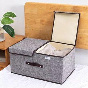 Unterwäsche Aufbewahrungsbox Stoff Baumwolle Leinenbehälter Haushaltsgarderobe Organizer Wäsche Große faltbare Kleidung Warenkorb Bin Q0120
