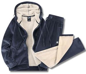 Winter Warm Tracksuits For Men Jacket Pants Plus Size Fashion Thicken Fleece Plush Sweatshirt Sportswear Male Hooded Dress