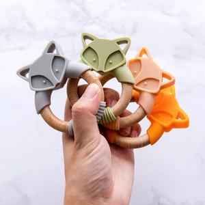 Holz Fuchs Beissringe Baby-Beißring Silikon Nagetiere Silikon Holz Beißringe Spaziergänger für Kinderwaren Spielzeuge