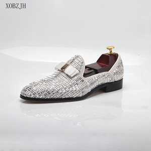 Men Evening formal Dress Rhinestone Shoes Loafers Casual Prom Wedding Party Leather slip on Shoes Men Silver Plus Size 13 201009