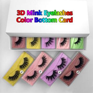 3D Ciglia finte 10/20/30/40/50/70 / 100pairs 3D visone ciglia naturali visone cigli 10pairs carta colorata di trucco in un pacchetto