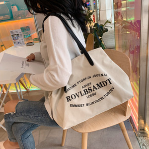 HBP Tote Big Bag Women 2021 New Fashion Coreano Casual Lettera Canvas Designer Borse a tracolla Borse Mummy Bag Bags Europa e America all'ingrosso