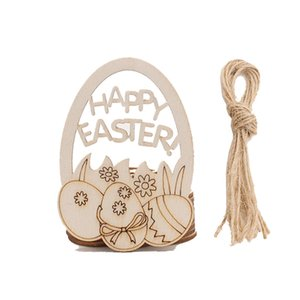 10pcs lot Wooden Easter Pendant Happy Easter Eggs Rabbit Bunny Hanging Ornament Kids Easter DIY Toys YYB3880