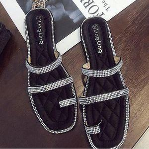 COOLSA modo delle nuove donne strass Toe pantofole Ladys sexy Paillettes piatto comode pantofole scarpe piane trasporto caldo di goccia GmsR #