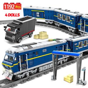 New City Train Train Power-Driven Rail Train Train Track Auto Mattoni Creatore Technic Train Station Building Blocks Giocattoli per bambini X0102