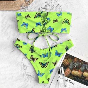 Butterfly Print Bikini Set Tube Swimwear For Sexy Women Tankini Set Green Padded Swimwear Summer Bathing Swimsuit Beachwear