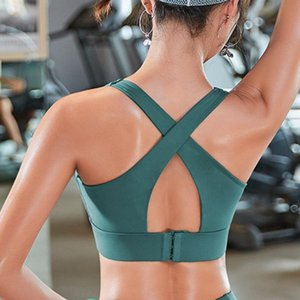 Gym Clothing Sports Wear For Women Fitness Cross Back Yoga Bra Solid Gather Sport Top Workout Push Bralette Running Clothes