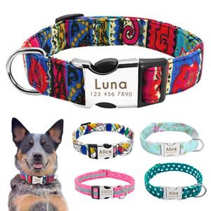 Nylon Dog Collar collare personale l'animale domestico inciso ID Tag Targhetta riflettente per Small Medium Large cani Pitbull Pug