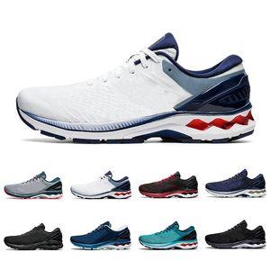 Asics gel-kayano 27 moda uomo donna scarpe da corsa scarpe da ginnastica triple nero bianco classico rosso techno ciano foglio rock mens sneakers sportive da esterno