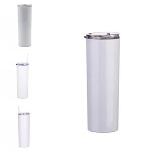 White Slims Cup 20oz Sublimation Straight Tumbler 600ML Stainless Steel Vacuum Mugs Drink Flat Cover Plastic Straws Seal Car Outdoors G2