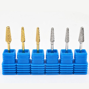 Brand New 6 Types Tungsten Carbide Nail Drill Bit Gold Silver Color Burr Bits For Manicure Drill Accessories Milling Cutter Tools