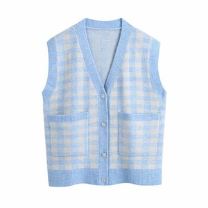 2021 New Women Blue Plaid Sweaters Fashion Ladies V-neck Knitted Coats Streetwear Female Diamonds Button Cardigans Esh8