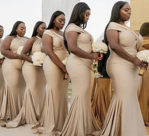 Africa Style Bridesmaid Dresses 2021 New Arabic Halter Sexy Misorder Modest Junior Maid Of Honor Dress Mermaid Wedding Party Dress