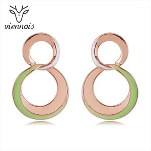 Dangle & Chandelier Viennois Enamel Earrings For Women In Exclusive Round Design Gold Color Metallic Party Jewelry 20211