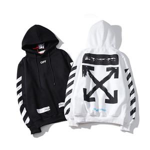 Il nuovo stile uomini OFF di base a strisce freccia bianco nero felpa con cappuccio incappucciato stampa della lettera uomini e donne hipe hop streetwear
