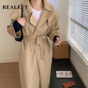 REALEFT 2020 Brasão Outono Inverno lã minimalista Abotoamento clássico Longo Trench Sashes Feminino solto Windbreaker Outwear