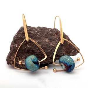 New Design Unique Dreamy Starry Blue Natural Stone Drop Earrings For Women Vintage Gold Copper Triangle Geometric Dangle Earring