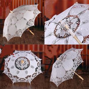 Longue poignée Umbrella dentelle mariée mariage décoratif photographique danse Props mode broderie Parapluies pur coton blanc 48ny M2