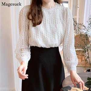 Fashion Lace White Shirt Women Casual Long sleeve Ladies Tops And Blouses Loose Pleated Elegant Blouse Women Blusas Mujer 11840