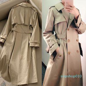 Khaki Double-breasted Trench Coat Women 2020 Spring Lapel Long Windbreaker Femme Clothes Loose Cloak Dust Coat Autumn Outwear 95