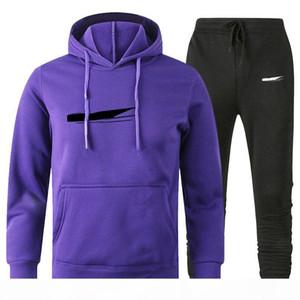 Men Designer pullover Hoodies Pants Fleece Tracksuit Mens Sweat Suits Patchwork Black Solid Color 2020 Autumn Winter Mens Womens Sportsuit