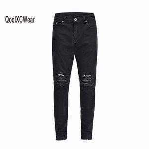 Высокая улица скинни мужская джинсы писем вышивка по разорванию на колене разблокировки манжеты мужчины джинсовые брюки черные кг-505