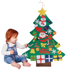 New DIY Felt Christmas Tree With Pedant Ornaments Xmas Gifts New Year Door Wall Hanging Xmas Decoration Kids Manual Accessories HH9-3529