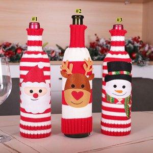 Cubierta de la botella de tejer de Navidad Santa Snowman Elk Champagne Cubierta de botella de vino Feliz Navidad Punto Botella Suéter Decoración GGB2728