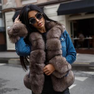 일러스트 Tatyana Furclub 데님 겨울 여성 천연 폭스 코트 두꺼운 파카 리얼 모피 자켓 Y201012을 따뜻하게