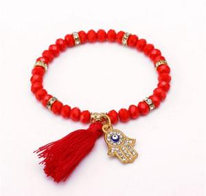 Wholesale-fashion Evil Eye Tassel Red Bracelets For Women Men Gold Hand Bracelet Femme With Stones Turki qylJEE dayupshop
