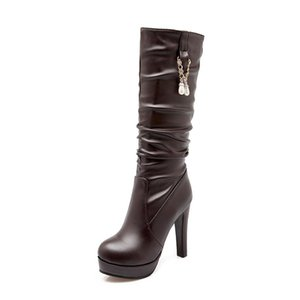 NASBAVI fashion street New PU leather boots boots women rhinestone pearl round head Thick bottom heel high heels long