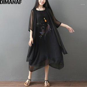 DIMANAF Summer Plus Taille Femmes Set costumes Vintage Floral élégante robe dame sans manches cardigan lâche 2 pièces style chinois1