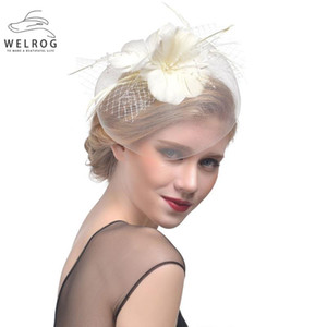WELROG Feather Cap Lady Cocktail Dinner Party Fedoras Wedding Bridal Mesh Veil Hats Vintage Sombreros Chapeau Fascinators Hat