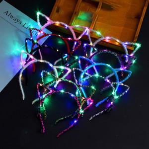 Уши LED Light Up Cat животных Оголовье Женщины Девушки проблесковый Головные уборы Аксессуары для волос Concert Glow для вечеринок Xmas Gift M3071