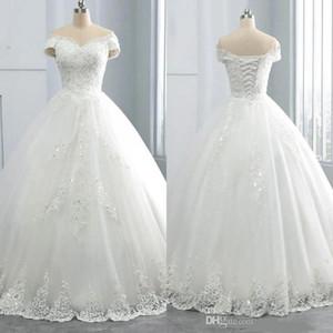 Atemberaubende V-Ausschnitt Winterspitze Brautkleider Applikationen plus Größe aus dem Schulter Ballkleid Custom Vestido de Novia Formal Brautkleid