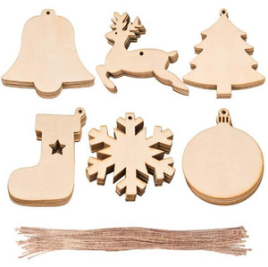 Christmas Wooden Ornaments Christmas Tree Hanging Xmas Pendant Blank DIY Wood Craft Gift Decoration 10pcs Lot GWD2368