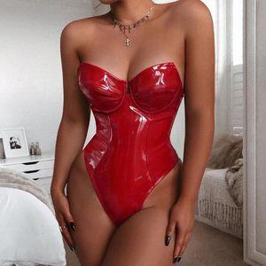 Hodisytian Femmes Sexy BodySuits Lingerie Faux Faux Cuir PlaySuits Fétiche Costume Bormon Costume Backless Girl Fitness Clubwear