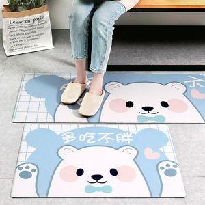 New PU leather oil-proof long strip kitchen floor mat Cartoon Environmental Protection Waterproof Anti-skid Mat Non-slip PVC
